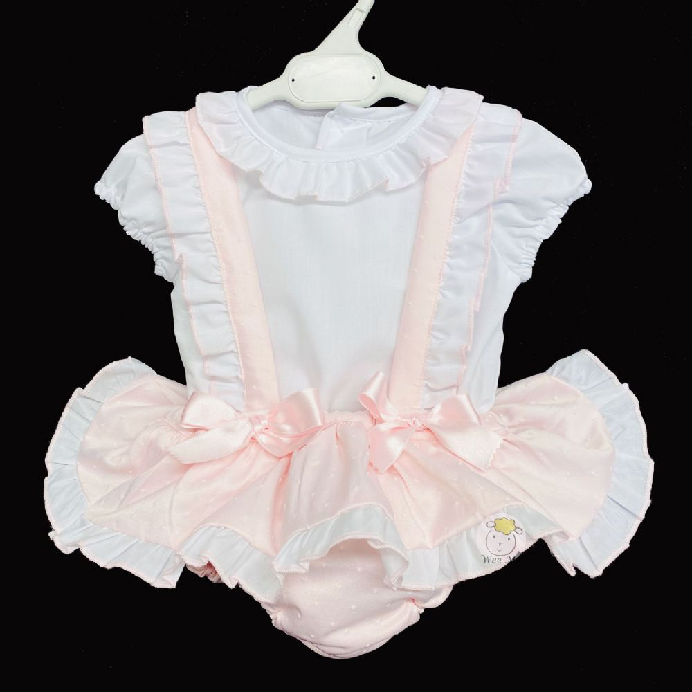 * Baby Girl Spanish Silky Pink Brace Skirt Set Pinafore Set
